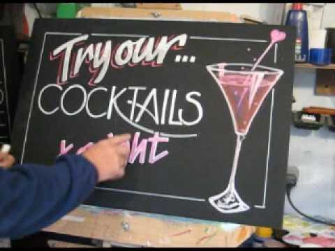 Chalkboard demonstration of wine glass
