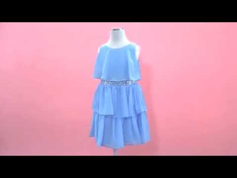 Special Occasion Girls Dress with Ruffled Chiffon Layers by Sweet Kids