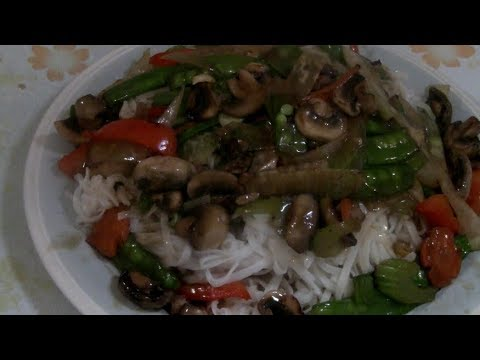 Noodles With Vegetables Stir Fry  (Chinese Thin Rice Noodle With Vegetables)  Easy Chinese Cooking