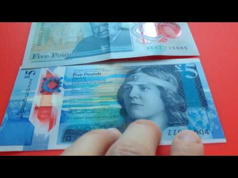 AK47 plastic £5 from Bank of England compared to plastic fiver from Royal Bank of Scotland