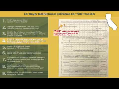Transfer California Title: BUYER Instructions