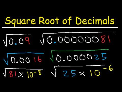 Square Root of Decimal Numbers Using Scientific Notation - Simplifying Radicals - Algebra