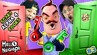 HELLO NEIGHBOR NIGHTMARE DOORS OF DEATH! ALPHA 4 DOUBLE JUMP Mini Game w/ Red & Green Key FGTEEV #3