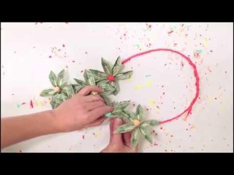 Origami money flower lei
