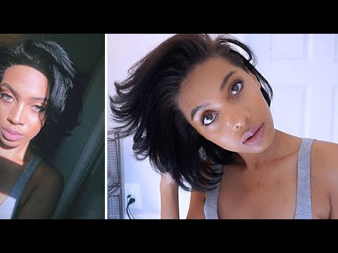 MY HAIR IS GETTING LONGER WATCH ME STRAIGHTEN IT + HOW I WRAP IT AT NIGHT   SHORT NATURAL 4c  HAIR