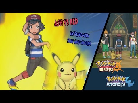 Pokemon Sun and Moon: Alola Ash Vs Alola Red (Ash and Pikachu Z Move)