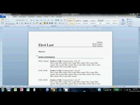 How to Write a Basic Resume in Microsoft Word