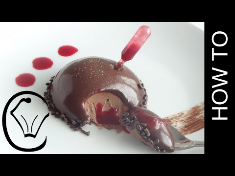 Glazed Chocolate Mousse Dome with Raspberry Sauce Pipette by Cupcake Savvy's Kitchen
