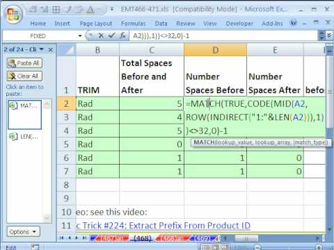 Excel Magic Trick 468: Count Spaces at Beginning & End of Text String (Array Formula)