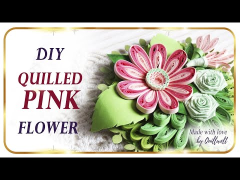 DIY How to Make Quilling PINK Flower / Quilling Tutorial
