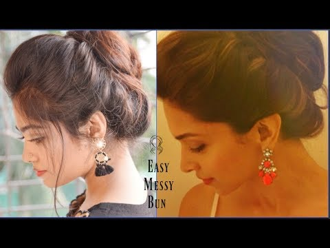 EASY MESSY BUN WITH FRONT PUFF HAIRSTYLE | Deepika Padukone Hairdo | HEATLESS hairstyle