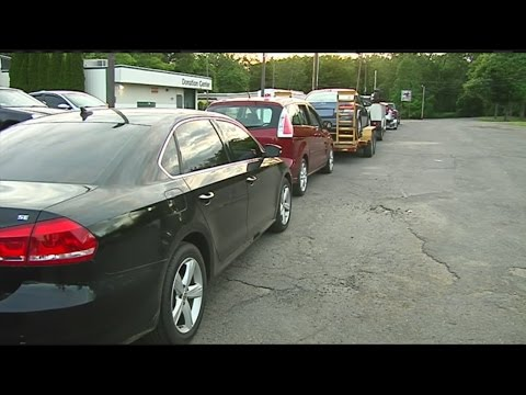 Cars line up for salvage inspection in Westfield