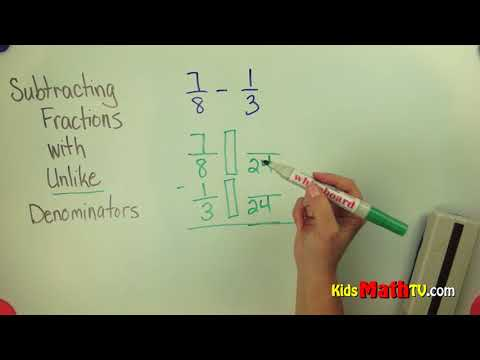 Subtracting fractions with unlike denominators examples video