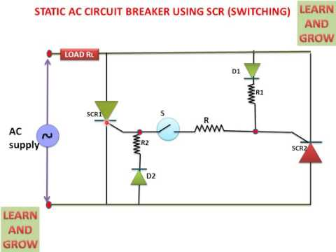 STATIC AC CIRCUIT BREAKER USING SCR (SWITCHING) ! LEARN AND GROW