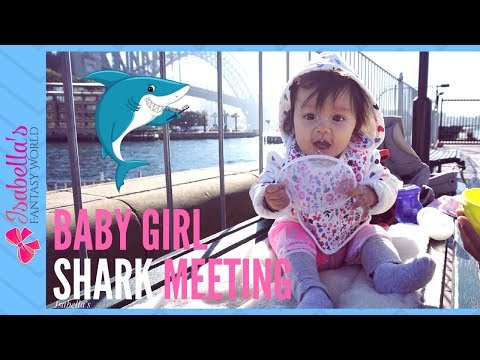 Baby sees shark first time at sea life aquarium Sydney | Bebe visita tiburon blanco en acuario
