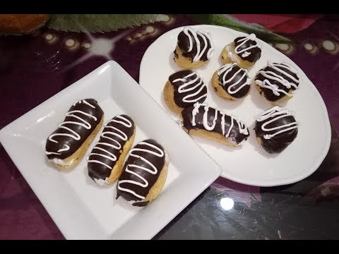 Cream puffs and eclairs How to make chocolate eclairs at home simple n easy recepie in urdu