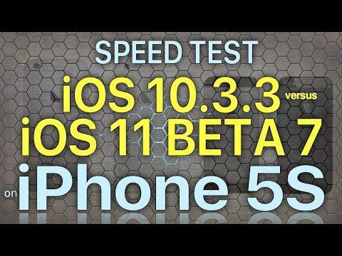 iPhone 5S Speed Test iOS 10.3.3 vs iOS 11 Beta 7 / Public Beta 6 Build 15A5362a