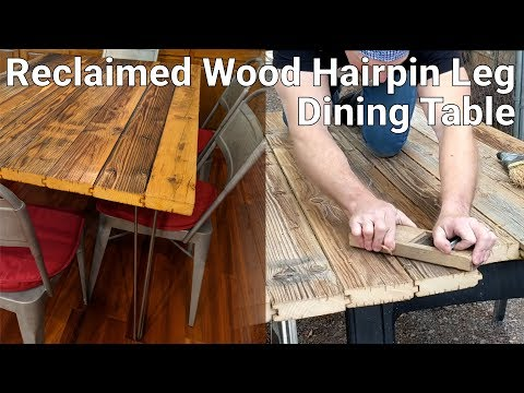 Reclaimed Wood Metal Hairpin Leg Dining Table