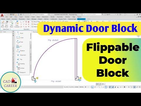 Dynamic Door Block in AutoCAD | Dynamic Door Block Flip process | How to Create Dynamic Door block