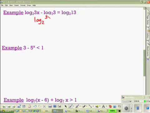 Equations and Inequalities with logs and exponents