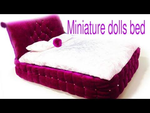 DIY Princess bed  for dolls.DIY Miniature Dolls bed.Barbie bed