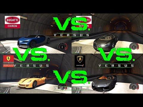 bugatti CHIRON vs bugatti VEYRON vs AVENTADOR vs ferrari 599 GTO in gta5