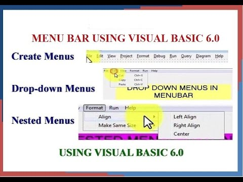 Create Menus,Drop Down Menus ,Nested menus in Menu Bar Using Visual Basic 6 0