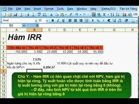 Tính tỷ suất hoàn vốn nội bộ trong Excel - Hàm IRR