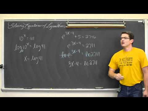 Solving Equations with Logarithms Pt 1