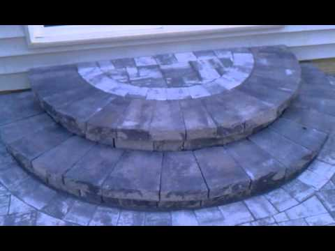 Nicolock pavers - rustico marble blend; round steps by Corad Outdoor Living and Home Improvement