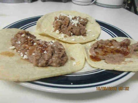 Refried Beans Tacos and Chile de Arbol en Aceite Salsa!!!!!  :)