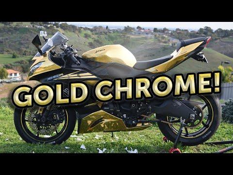 2013 Ducati 1199r Chrome Gold Chrome Wrap Motorcycle