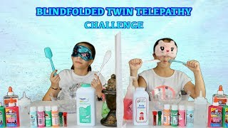 BLINDFOLDED TWIN TELEPATHY SLIME CHALLENGE WITH KATHERYN | SISTER FOREVER
