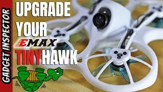 Emax Tinyhawk frame swap - black frame on blue 4 blade props