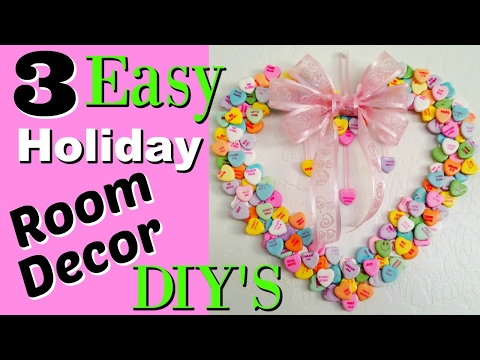 3 SUPER CHEAP AND EASY VALENTINES ROOM DECOR CONVERSATION HEART DIY - Holiday crafting tutorial