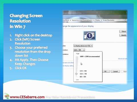 Changing Screen Resolution in Windows XP, Vista and 7
