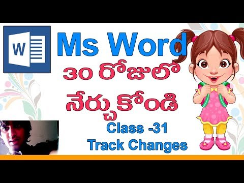 Ms Word Classes in Telugu - Class - 31 |👣| Review Tab | Track Changes