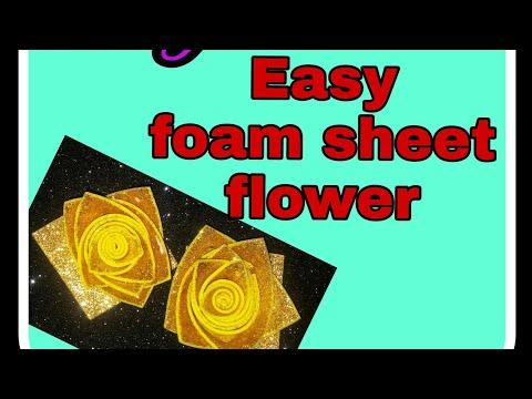 Diy/How to make craft flower | glitter  foam sheet flower | glitter foam sheet craft | glitter sheet