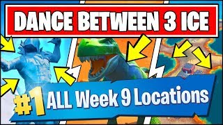 Download DANCE BETWEEN THREE ICE SCULPTURES, DINOSAURS, HOTSPRINGS *ALL LOCATIONS* Fortnite Week 9 Challenges Video