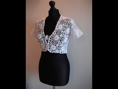 how to crochet white bolero chaleco free pattern tutorial