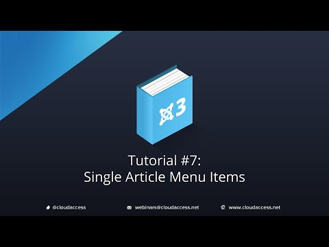 Getting Started with Joomla 3 & CloudBase 3: Single Article Menu Items - Tutorial #7