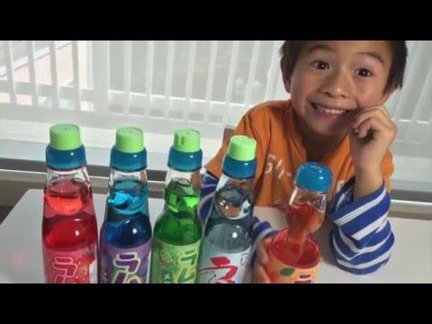 Japanese Ramune Soda Pop! 5 Flavors Tasting Review!