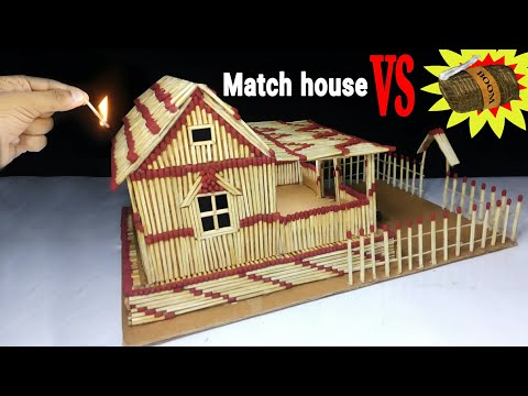How to make a match fire  house at home - Match stick fire house at home easy