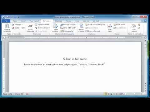 Microsoft Word 2010 Creating a References and Works Cited Page
