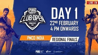 [EN] PMCO India Regional Finals Day 1 | Spring Split | PUBG MOBILE CLUB OPEN 2020