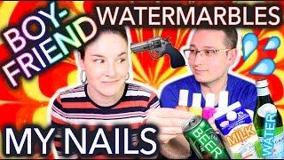 My Boyfriend Watermarbles my Nails WITH BEER?!