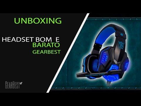 Unboxing Melhor HeadSet custo-beneficio da GearBest. (BOM E BARATO)