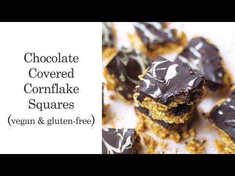 Chocolate Covered Cornflake Squares (Vegan & Gluten-free)