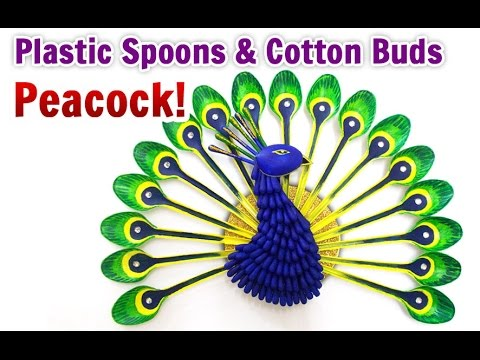 DIY Home Decoration : How to Make a Peacock from Plastic Spoons Crafts   DIY Projects  