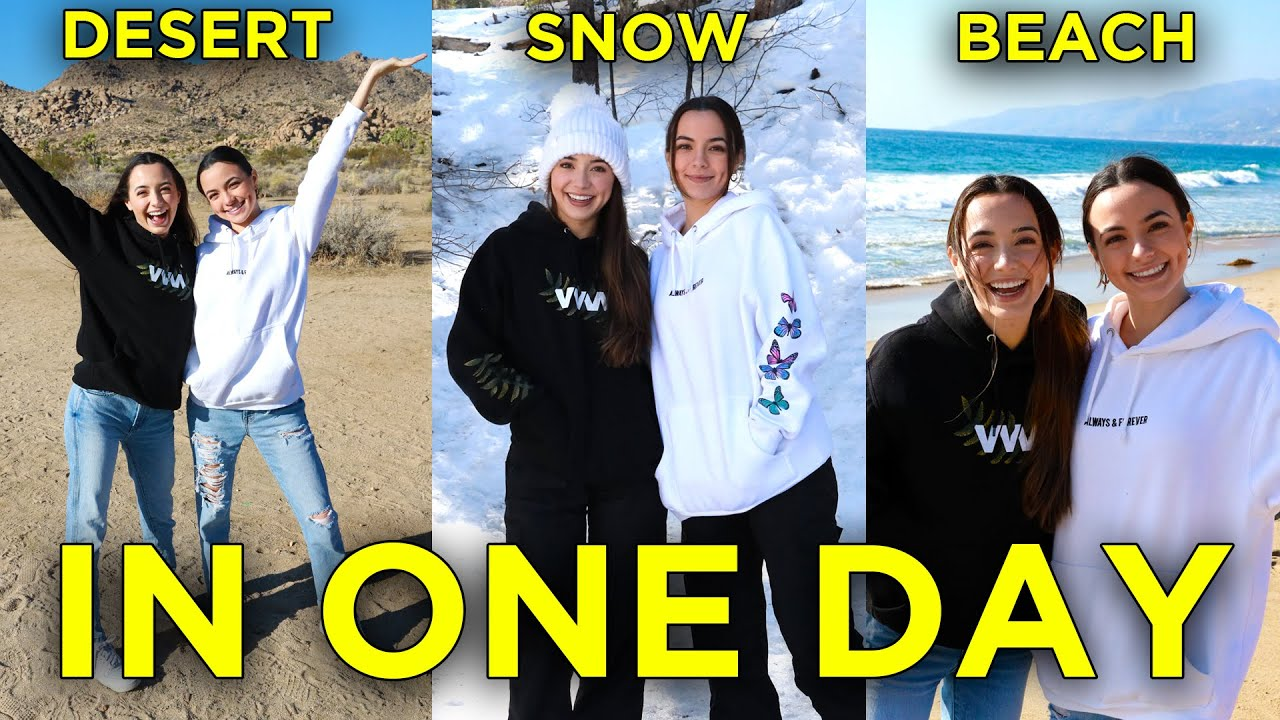 We went to the Snow, Beach and Desert all in ONE DAY! - Merrell Twins